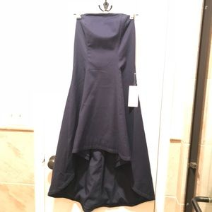 Matte navy blue high-low, low back strapless dress